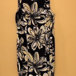 Black floral print sheath
